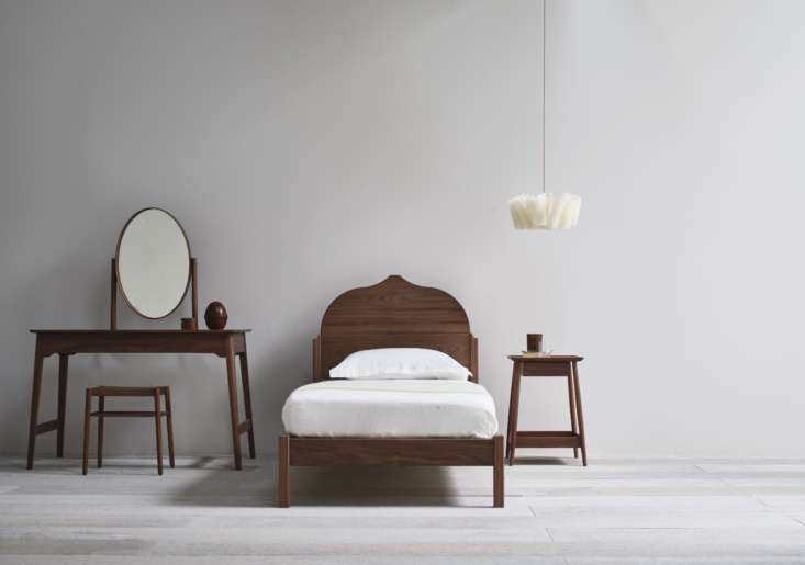 the christo single bed in american black walnut is paired here with other punch 9