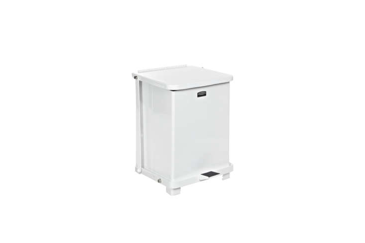 Utilitarian but appealing, The Defenders Commercial Steel Step Trash Can from Rubbermaid is $8.74 on Amazon. For more see our post Design Sleuth: Stylish Trash Bins from an Unlikely Source.