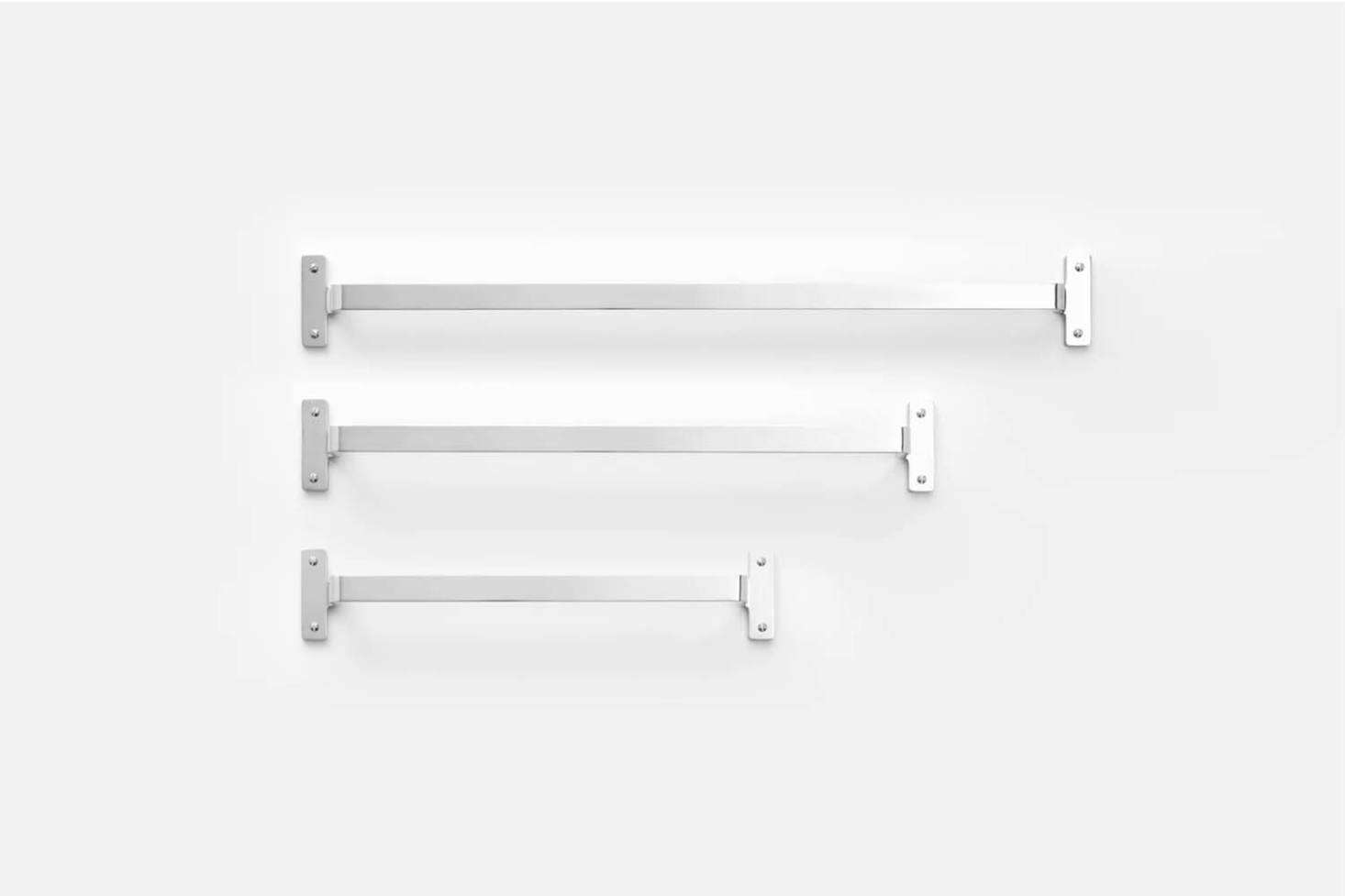 The Nicolai Towel Bar, shown in Polished Nickel, comes in three sizes starting at $9 from Schoolhouse.
