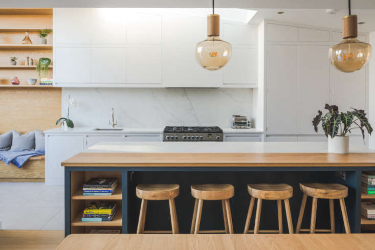 the cabinets are painted farrow & ball wevet; the island, farrow & ball 15