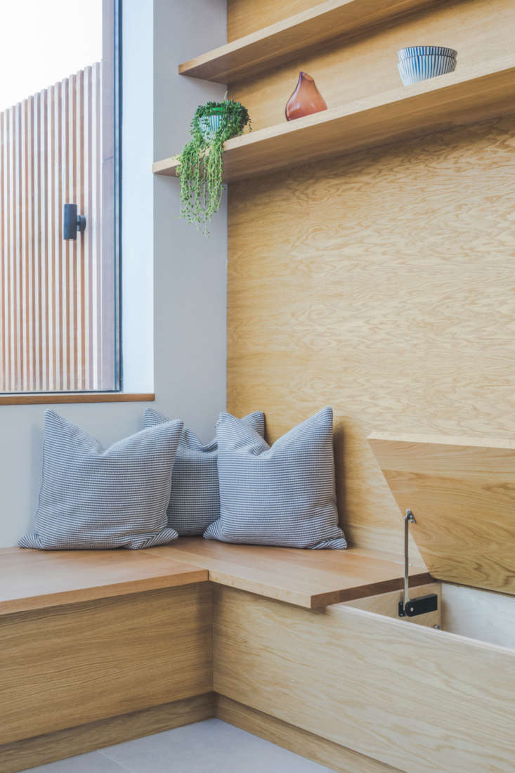 the built in oak window seat features hidden storage. from the website: &#8 13