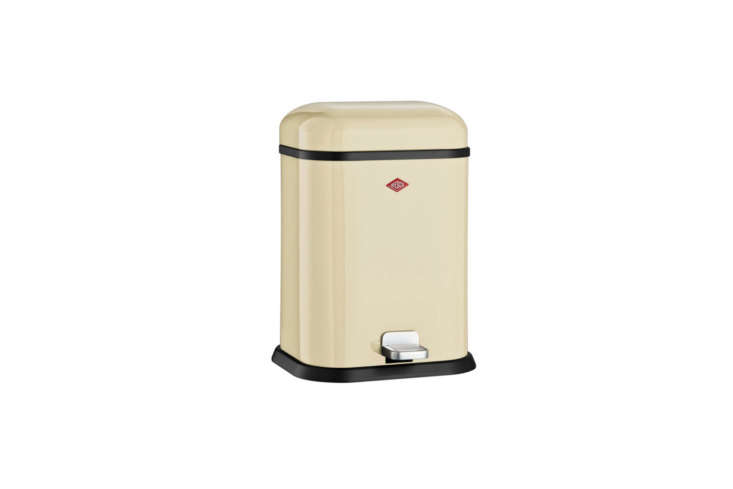 The Wesco Almond Single Boy Waste Bin also comes in red; $loading=