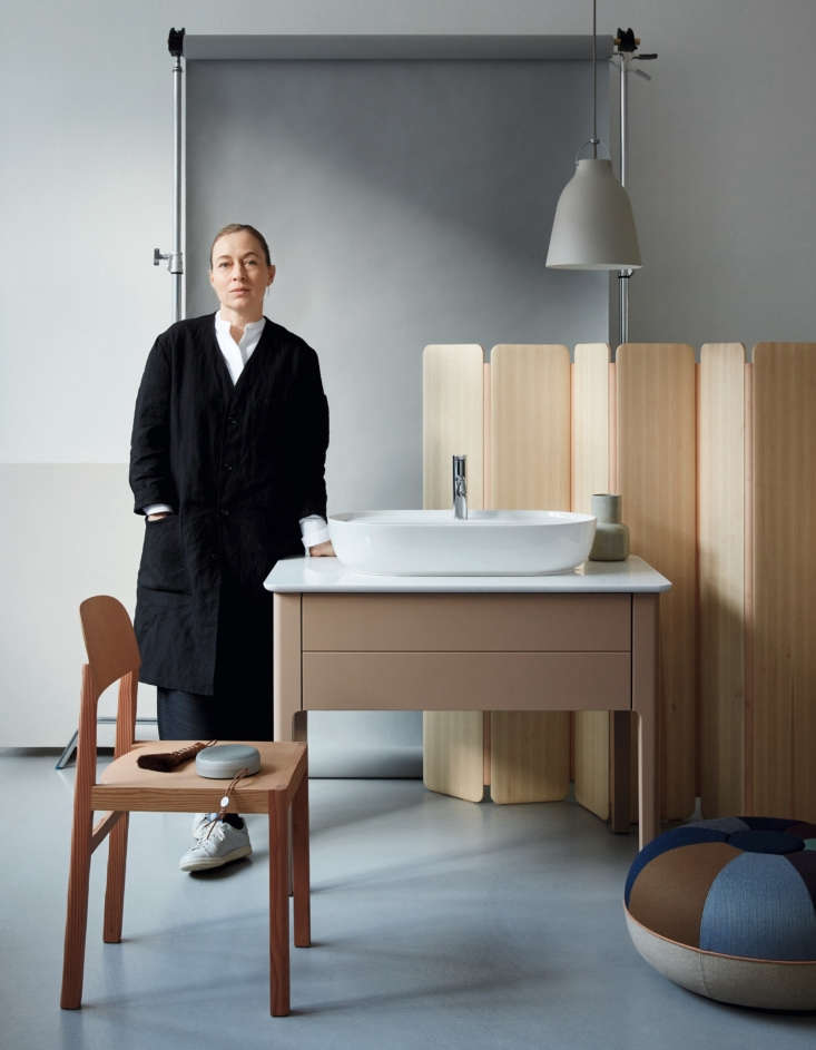 Currently Coveting Cecilie Manzs NordicSerene Bathroom Sinks and Tubs for Duravit Cecilie Manz with some of her greatest hits (that&#8\2\17;s the Caravaggio pendant light) and the latest incarnation of Duravit&#8\2\17;s Luv line: a washbasin on a console with height adjustable legs and push to open, self closing drawers.