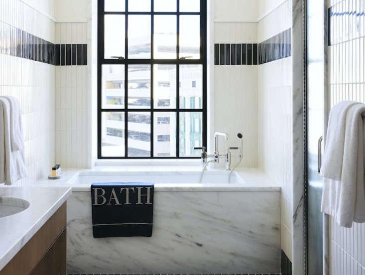 A bathroom designed by Gachot Studios for the Shinola Hotel in Detroit. Photo by Nicole Franzen courtesy of Gachot Studios.
