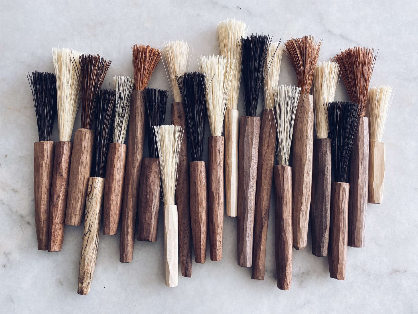 When sawdust became a part of her daily life, Sophie started carving brushes with bristles of plant-based fibers. &#8