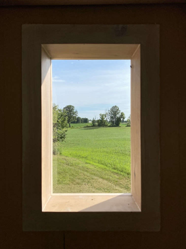 The view from the back window. John says he hopes others take inspiration from his creation and consider building their mobile huts.