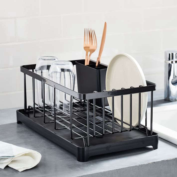 The Yamazaki Tower Black Wire Dish Drainer Rack is $55 at Crate & Barrel.