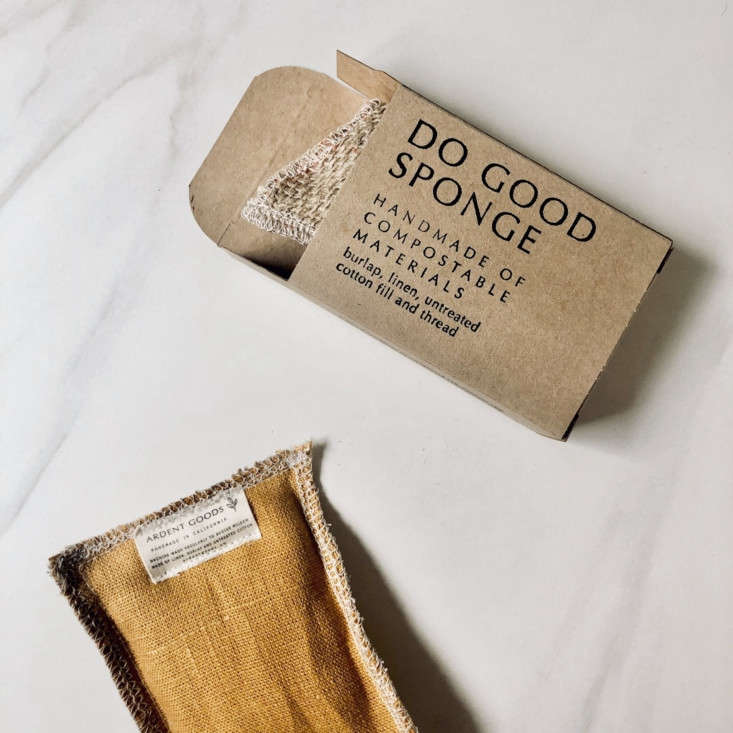 The Do Good Sponge Set. Made with eco-friendly materials, the burlap and cotton fill can both be composted. Six different colors available (pictured is Burlap Harvest Yellow); $
