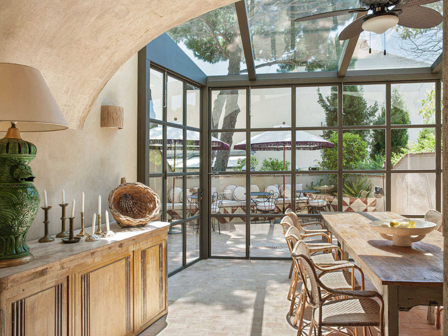 Most of the year, breakfast is served on the roof at a communal farmhouse table and outside on the terrace. The restaurant is for guests only, but on occasion special dinners and events are held here.