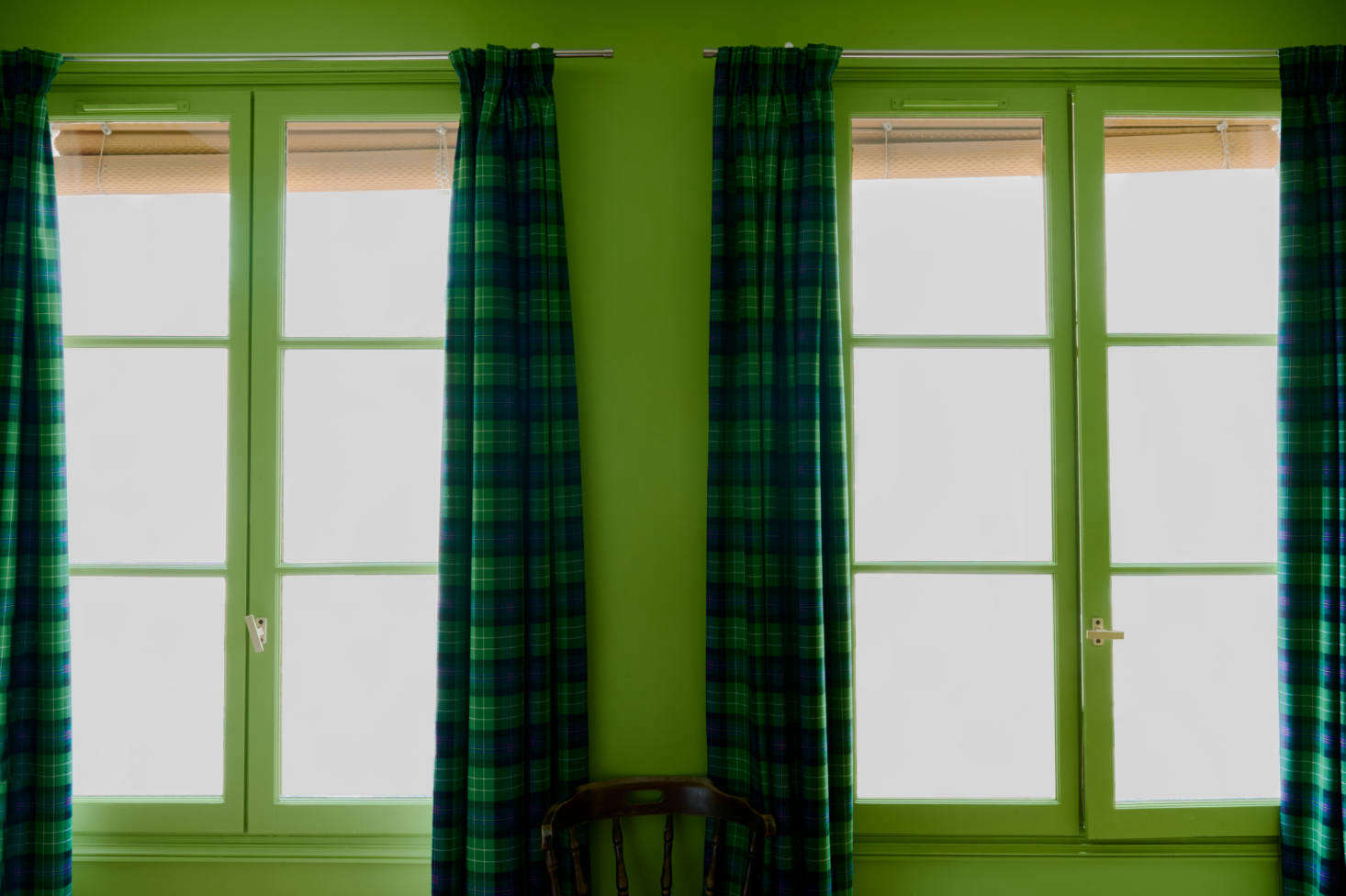 The Pinch-Pleat Tartan Curtains were sourced readymade from the Scotland Shop: this pattern, fittingly, is the All Ireland Blue tartan.