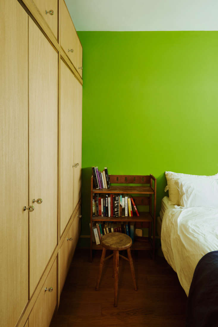 The bedroom, formerly a minty green, is now a bright apple. &#8