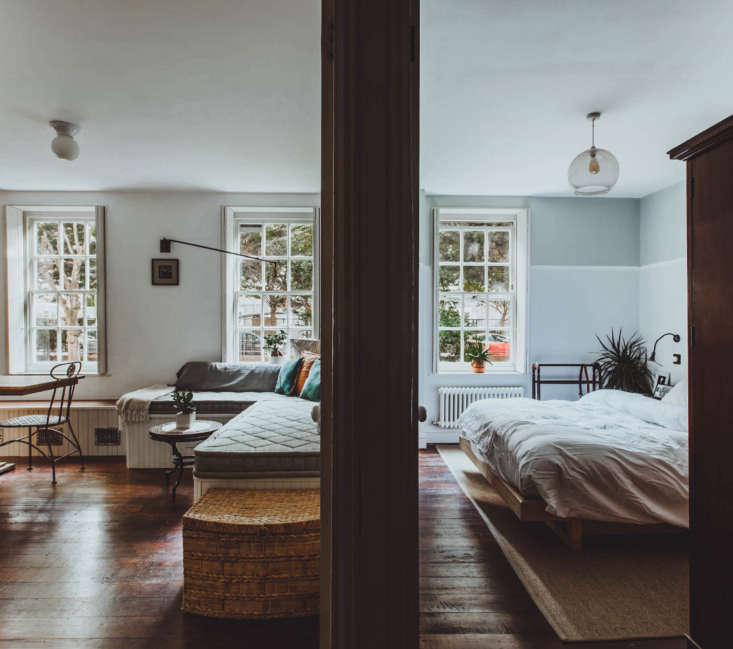 All Things Should Have Stories A Richly Hued London Flat With an Ikea Kitchen Too The couple left the dividing wall between bedroom and main room intact.