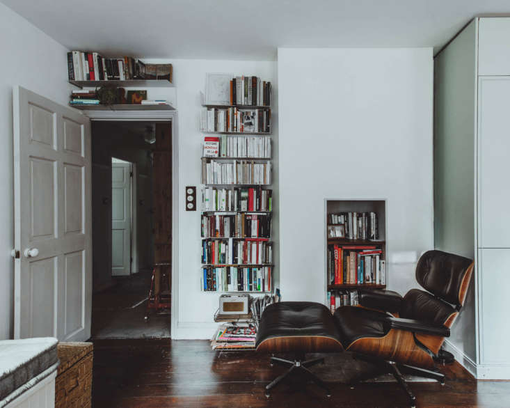 All Things Should Have Stories A Richly Hued London Flat With an Ikea Kitchen Too Books fill much of the opposite wall.
