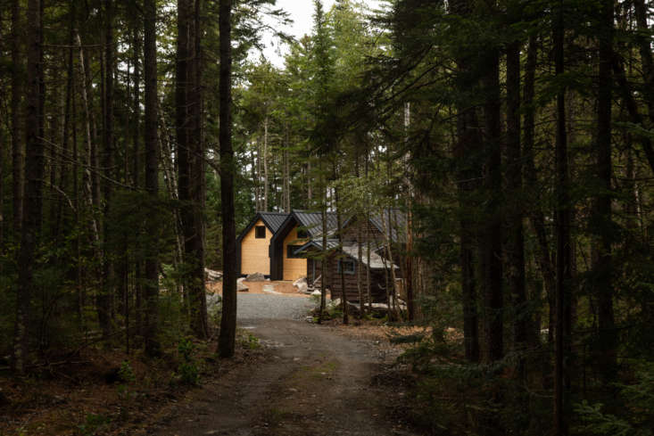 The series of cabins, tucked into the woods.