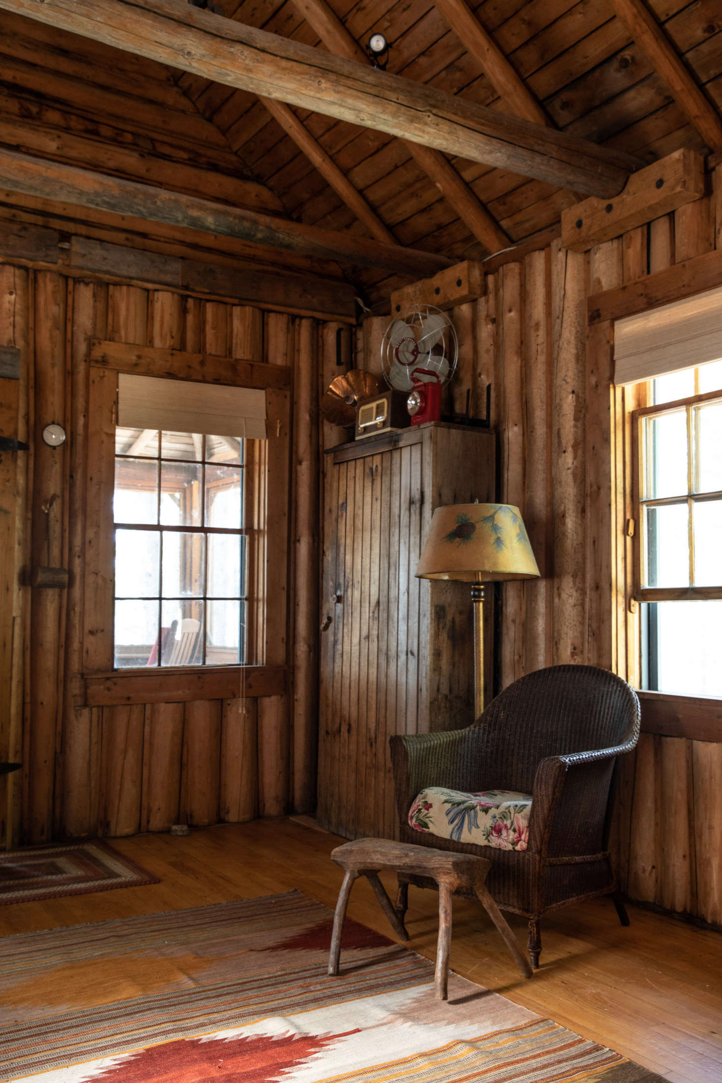 Much of the furniture in the log cabin came with the place: &#8
