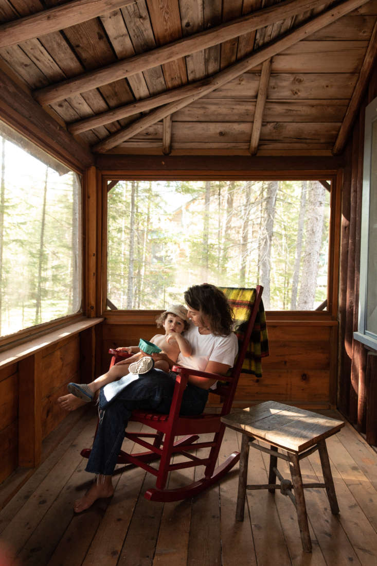 Jocelyn and her son on the cabin&#8