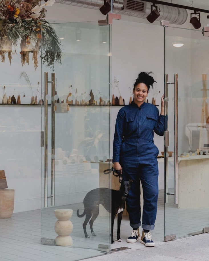 sophie and her whippet, stanley, at her recentl islington pop up. photograph by 16