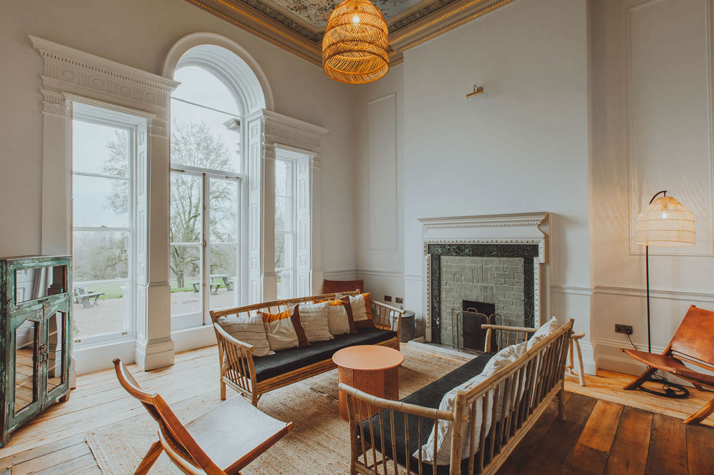 Another sitting room overlooks the gardens.