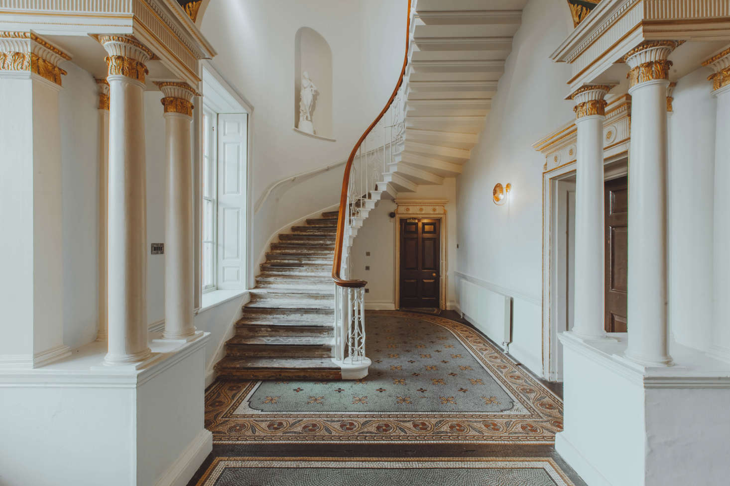 The monumental staircase was restored.