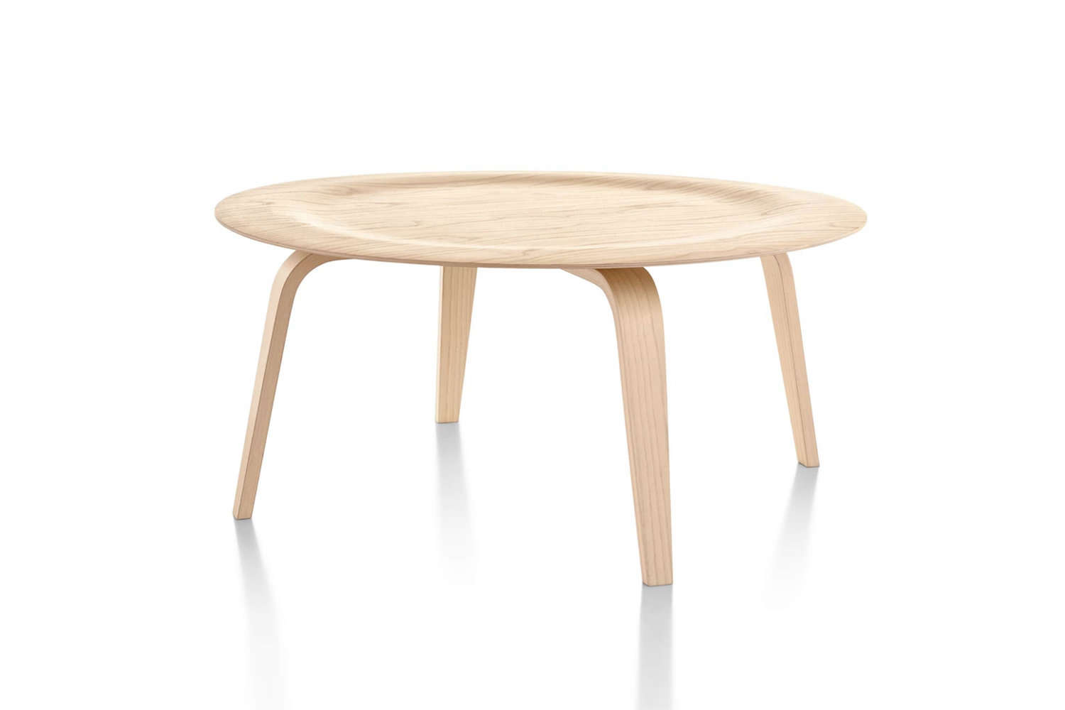The classic Eames Molded Plywood Coffee Table is designed in white ash, walnut, and ebony; $loading=