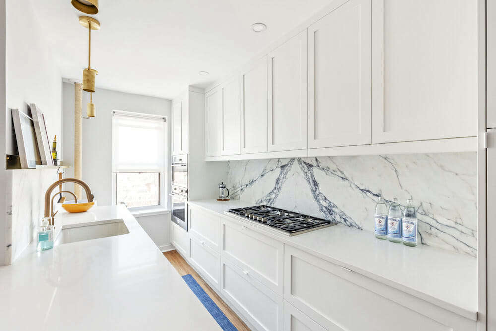 """Nest Fine Interior Contracting this galley kitchen in Jackson Heights, Queens. The homeowner says, """"During the job they  reached out several times to see how it was going. If I'd had any challenges with my contractor, which I didn't, I knew they were there to advise and help me out."""""""