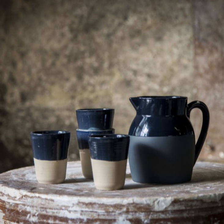 Manufacture de Digoin, the oldest pottery studio in the Loire Valley, makes ceramic French essentials in rich colors. We especially like the blue on blue Water Jug; €64.48 from Trela Tinos.