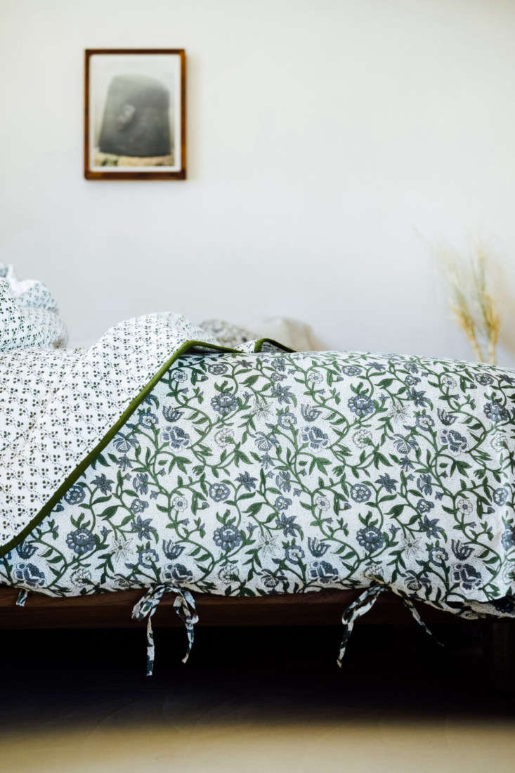 the marigold olive duvet cover and pillowcases are hand printed in india; pillo 9