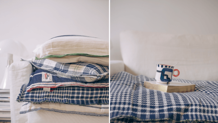A selection of pillows and futon bed rolls.