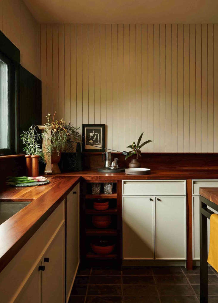 The groove paneled walls in the kitchen are painted Benjamin Moore&#8