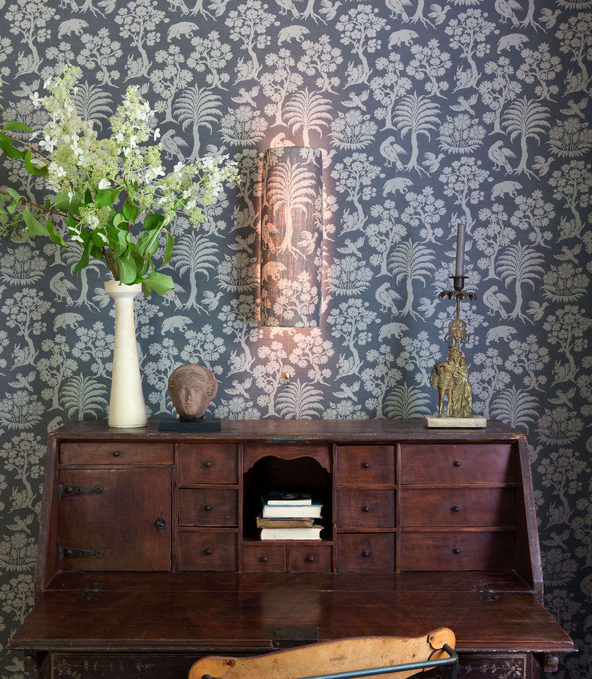 The Shaded Vault  features a shade made from Schumacher's Woodland Silhouette print; $src=