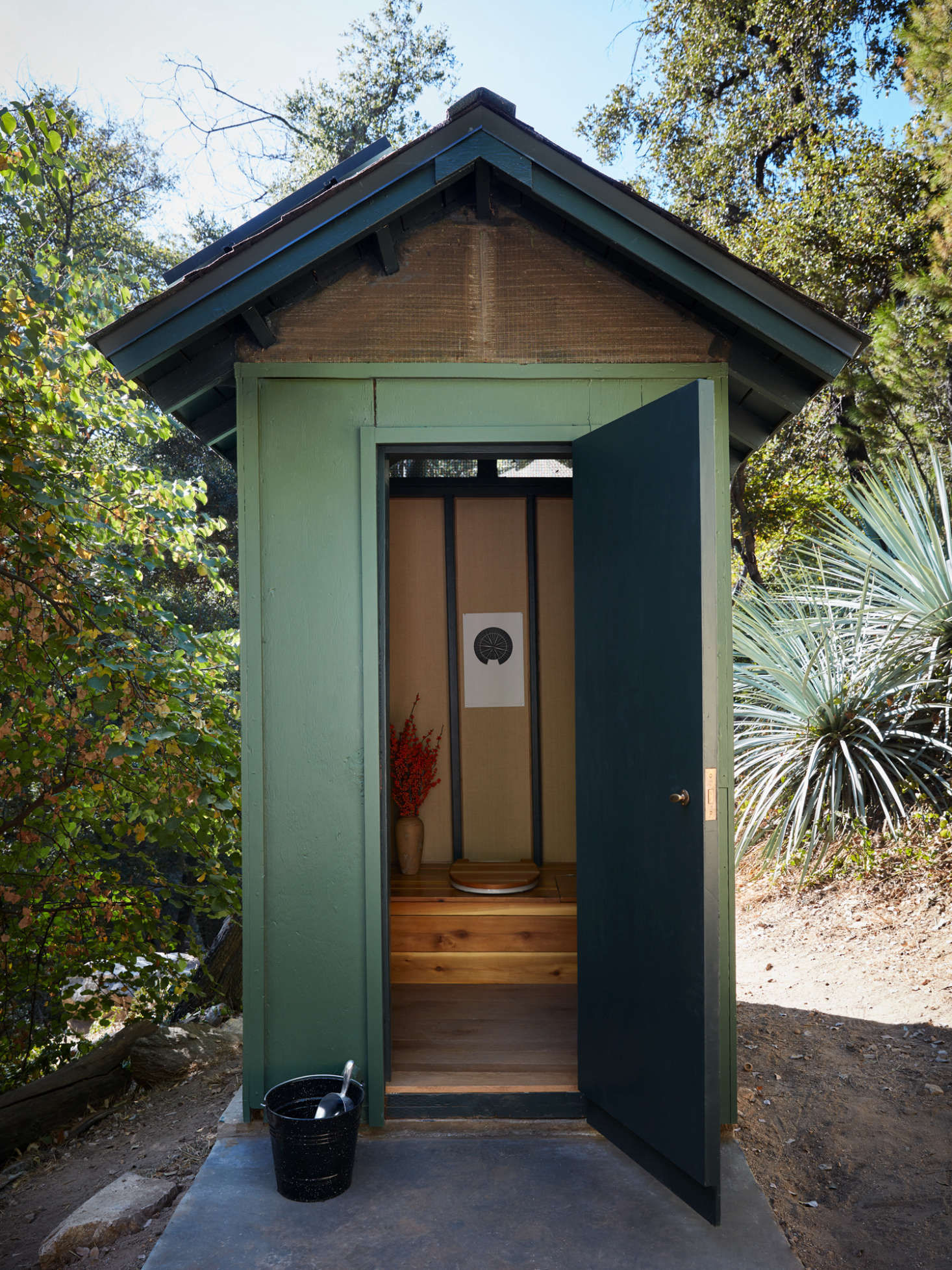 This may be the most charming outhouse with a composting toilet ever.