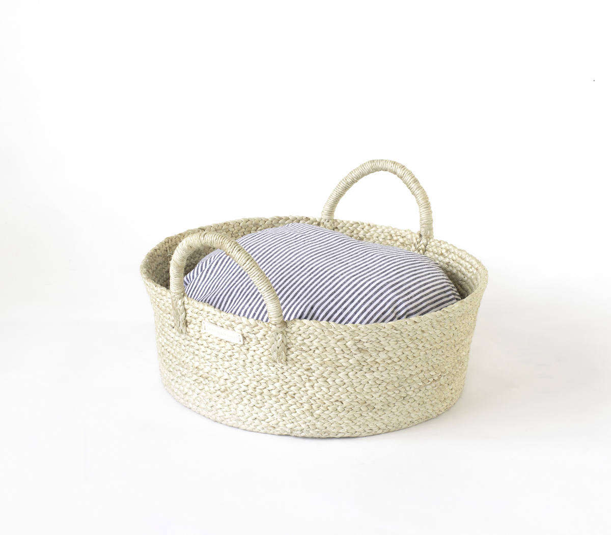 From my own brand, Faunamade, which offers high-quality basket beds for cats and small dogs: The Basket Bed in Stripe has a Fair Trade Certified basket made of eco-friendly jute, a washable cushion made in the US, and a durable cover sewn from 0 percent cotton designer fabric; $src=
