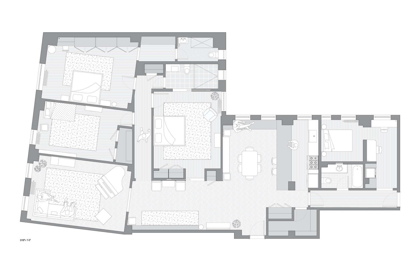 The new, more modern layout, now with a centrally located kitchen and guest quarters in lieu of staff rooms.