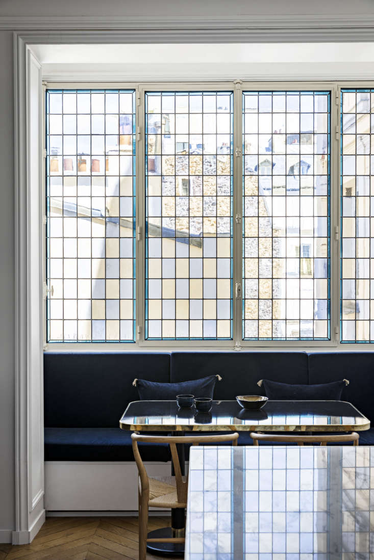 A closeup of the stained glass windows in the kitchen; they were redesigned with the Absoluverre Vitraux workshop.