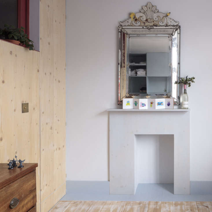 the same plywood was used to create a modernist mantel for an opened up (but no 16