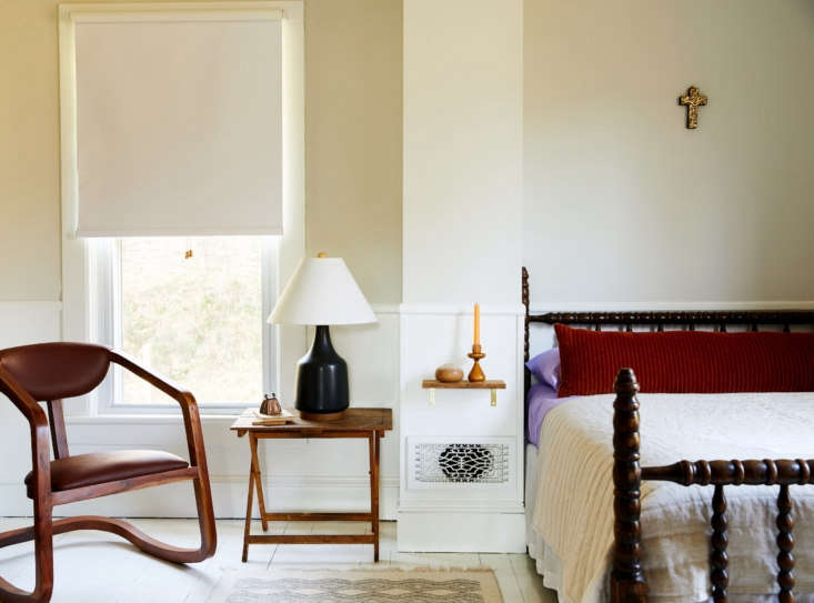 Upstate Update A Writers Layered Eclectic Catskills Farmhouse Three Years In Jonathon&#8\2\17;s childhood bed was rediscovered and given new life in a guest bedroom, alongside a shelf just big enough for a bedside taper candle.