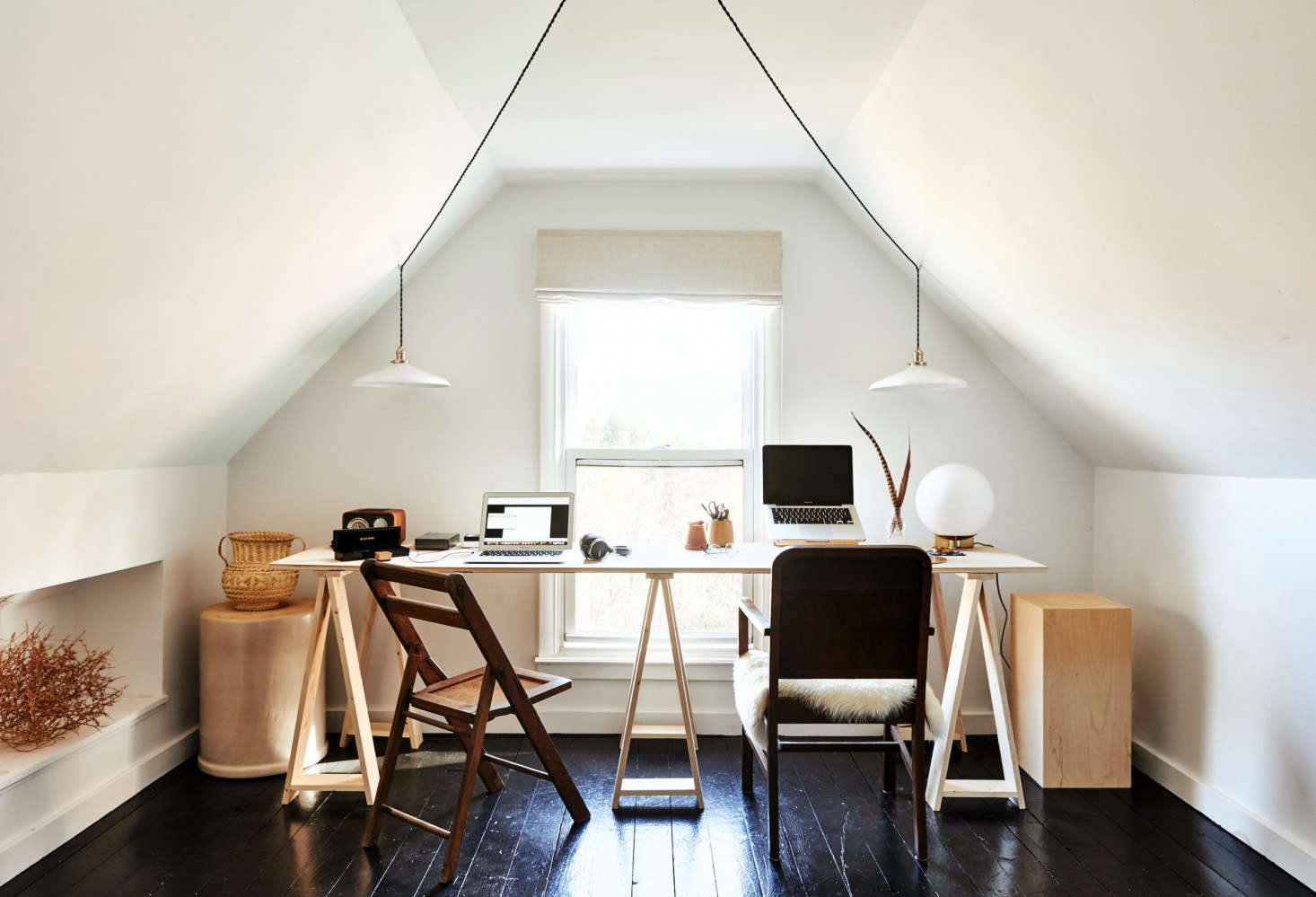 The attic—which formerly had been turned into a guest bedroom—received a very  changeover into a home office, &#8