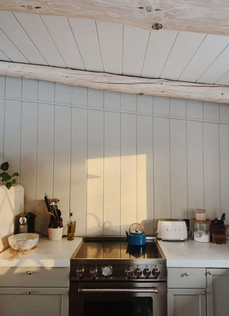 The finished cook space, awash in autumn light.