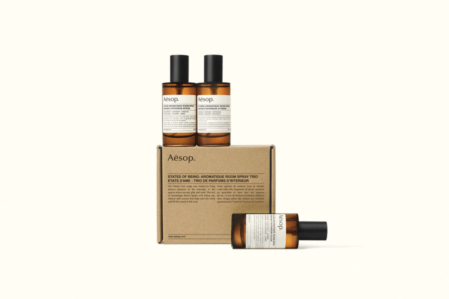 Remodelista Gift Guide 2020 Gifts for the Home Fragrance Snob The States of Being Aromatique Room Spray Trio includes all three of Aesop&#8\2\17;s fragranced room sprays to test out around the house; \$\1\10 for the set at Aesop.