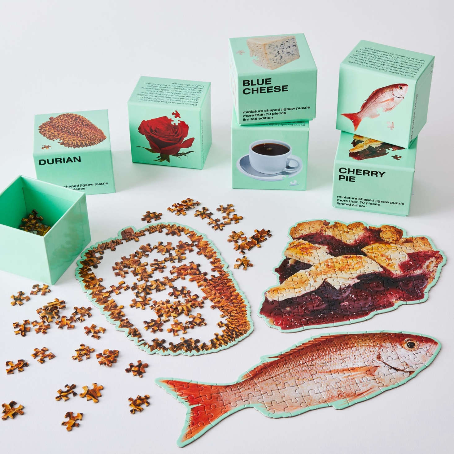 From Areaware, adorable Little Food Puzzles, each of which takes  minutes or less to finish. Cleverly themed sets of 3 (e.g, the Food Smells set includes coffee, cheese, and cherry pie) are $45 each; sets of 4 are $60 each; and a set of 7 is $5 at Food5