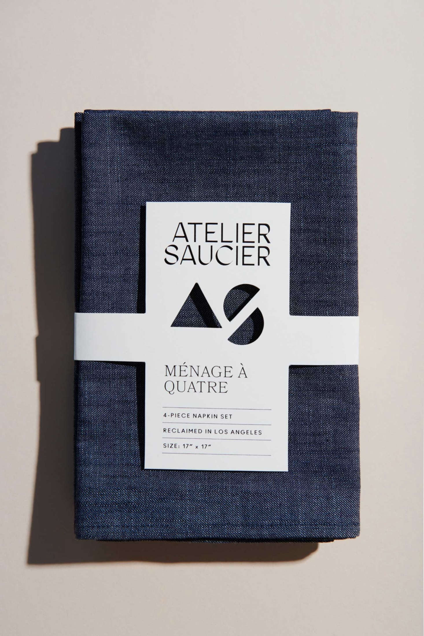 Atelier Saucier of Los Angeles turns surplus fabrics into napkins, placemats, and tea towels stitched in Downtown LA. Its Dark Denim Set, four for $66, is one of several that put reclaimed denim to good use.