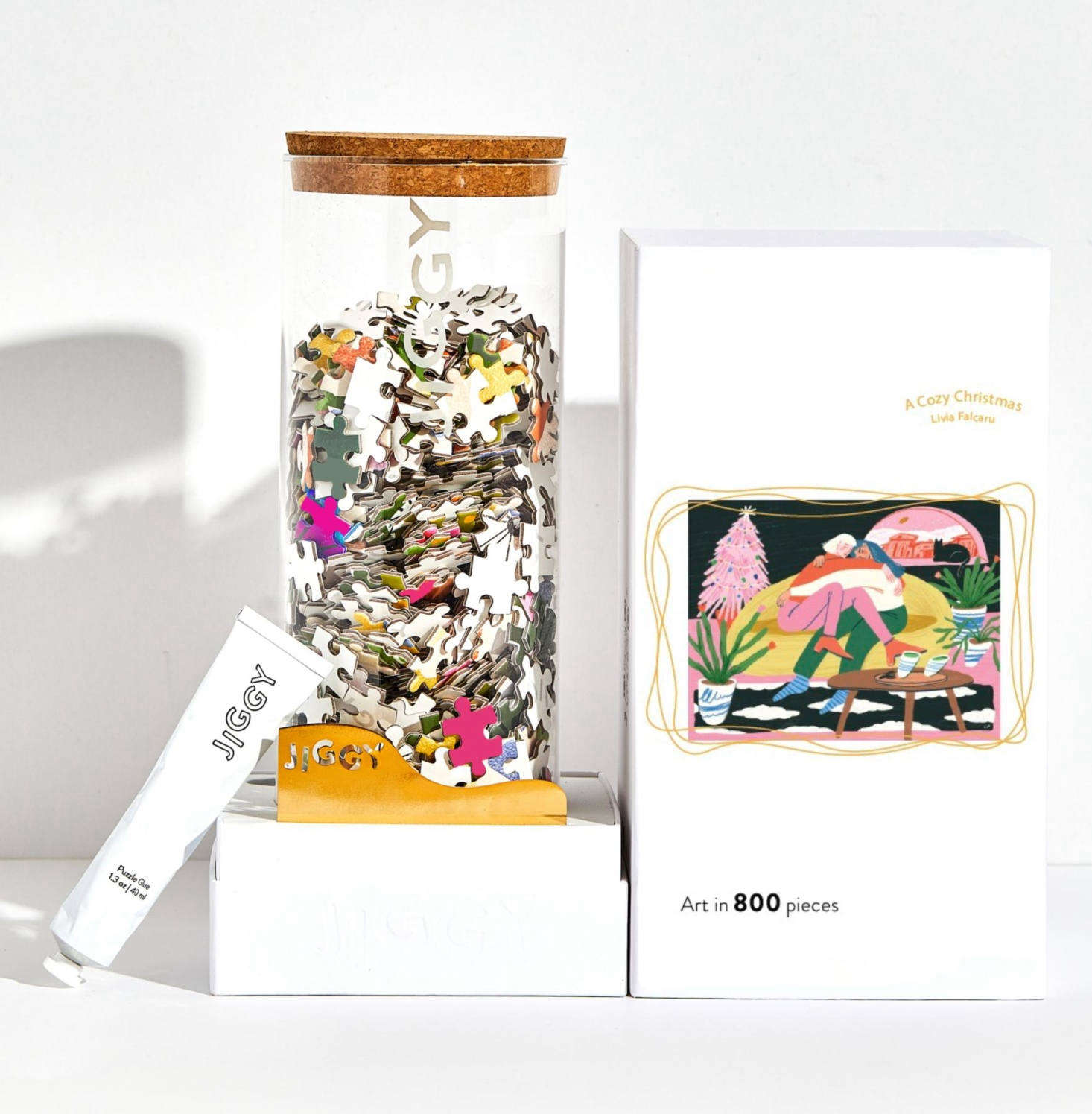 JIGGY was started a few years ago to make puzzles cool again. The company collaborates with female illustrators, including Romanian illustrator Livia Falcaru, who provided the art for A Cozy Christmas puzzle. Each puzzle comes in a reusable glass jar and includes puzzle glue, a straight-edge tool to spread the glue, and a print of the art; $49.