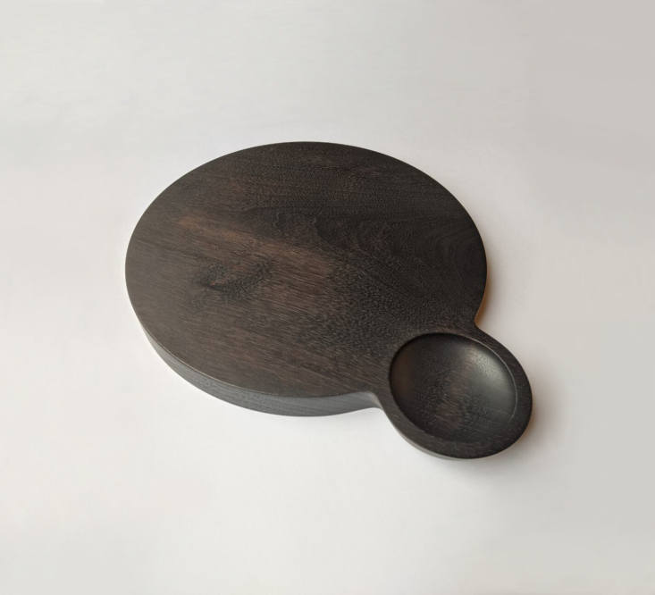 From Rhinebeck, NY-based Sawkille (a Remodelista favorite), the Round Cutting Board with Small Bowl is $5 and is available in walnut or oak, with an ebonized or natural finish.