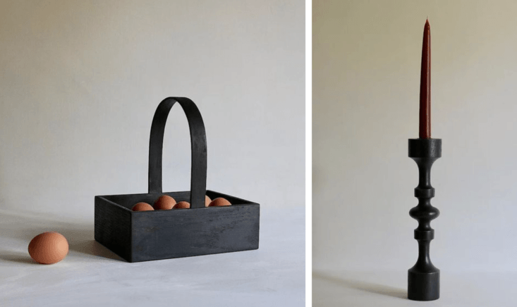 A new discovery from the UK (thanks to our correspondent Kendra Wilson): the work of Flavell Trading in Rutland, in the East Midlands. Among their offerings; the Egg Trug in blackened oak (£49) and the hand-turned Solvig Candlestick in blackened oak (£39).