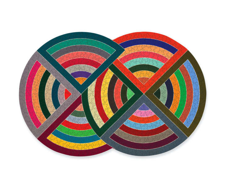 I love this colorful 750-piece Frank Stella Puzzle that thinks outside the standard rectangle; $ at the MoMA Design Store.