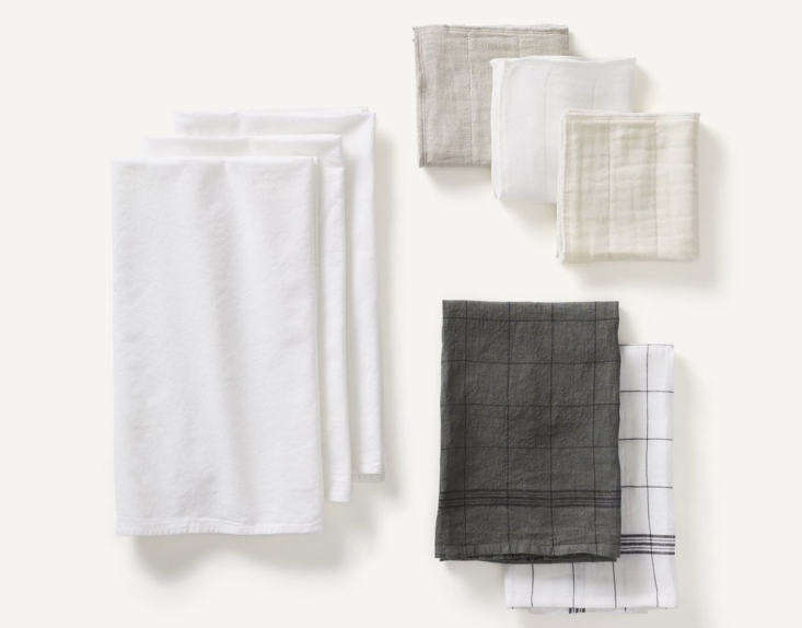 This Kitchen Linens Set at Kept includes three dish cloths, two tea towels, and three flour sack towels; $loading=