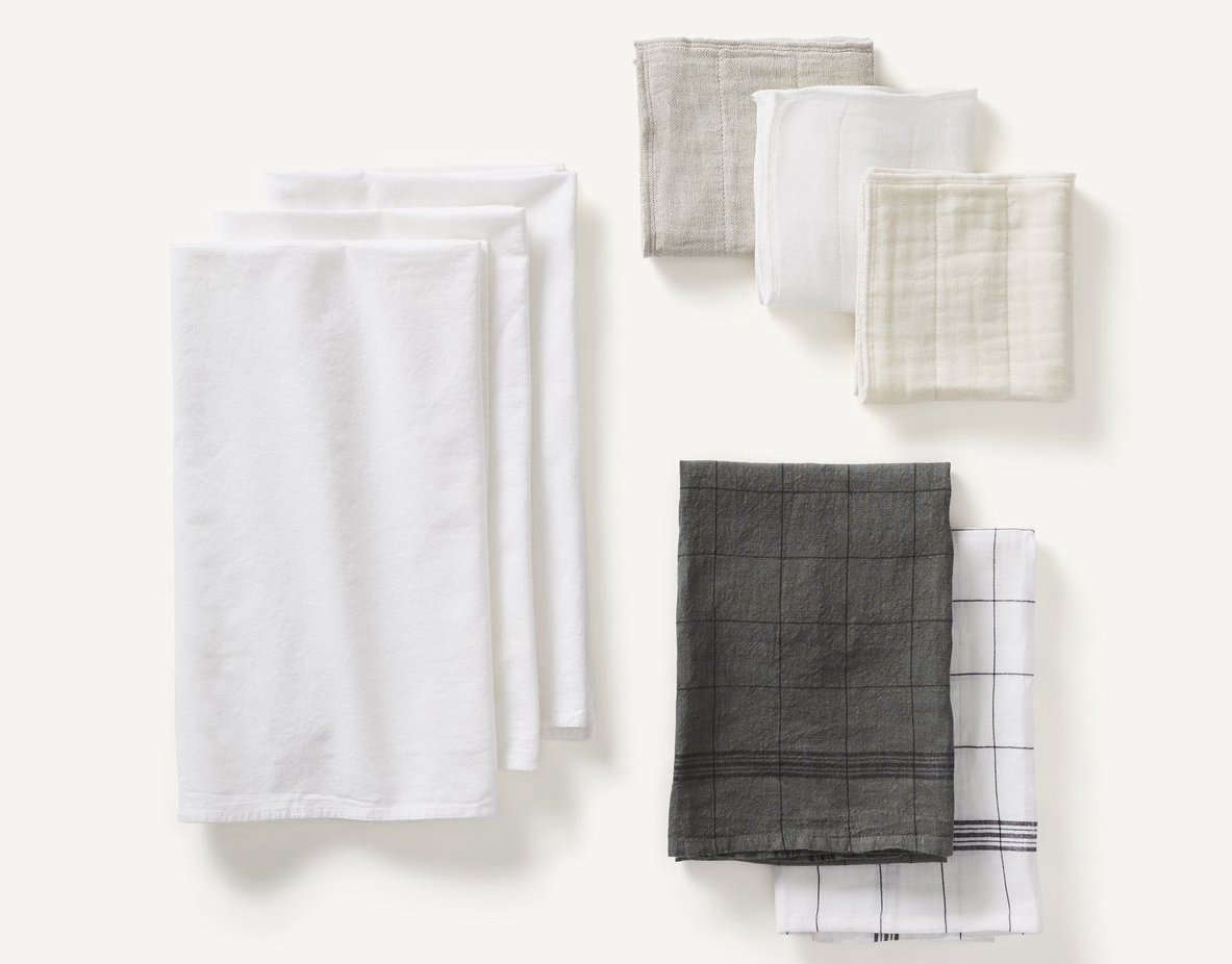 This Kitchen Linens Set at Kept includes three dish cloths, two tea towels, and three flour sack towels; $src=