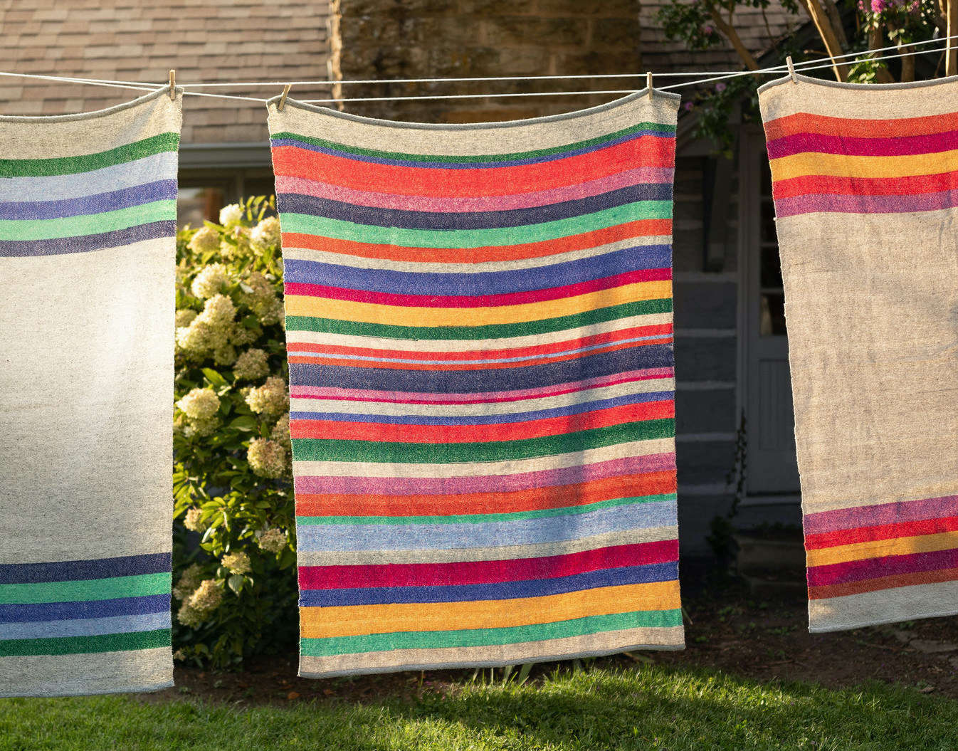 Back in July, we spotlighted the student-made Appalachian brooms and other designs from Berea College in Berea, Kentucky: see Crafts and Kinship. The school has recently begun rolling out some new work created under the mentorship of designer Stephen Burks. These handwoven wool and hemp throws, $0, come in three patterns, from left: Rise Throw Cool Colorway, Full Stripe, and Warm Colorway.