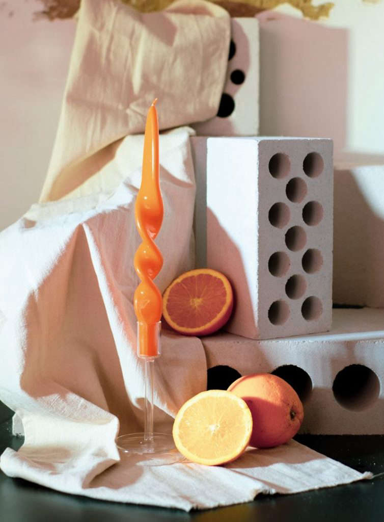 The Iphepha Spiral Candle in Aperitivo Orange is €.