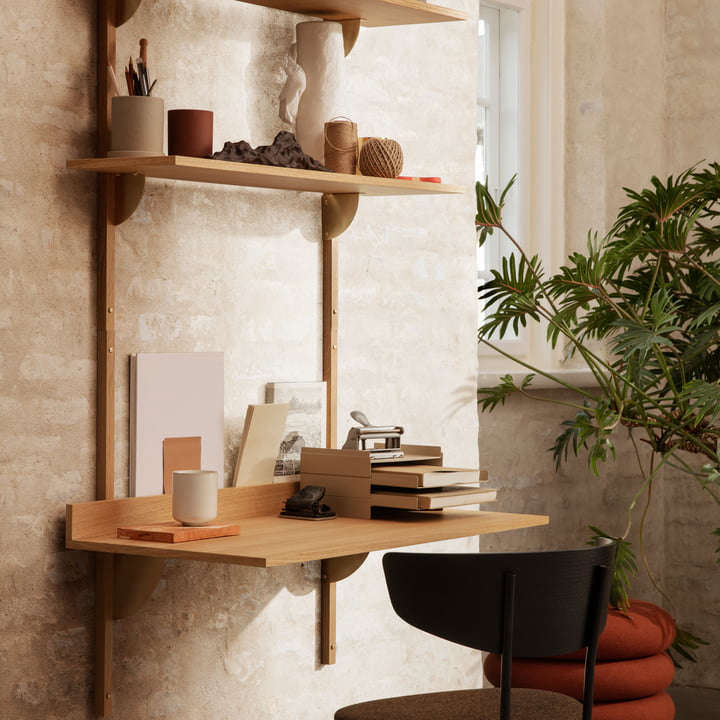 The Ferm Living Sector Desk comes in oak veneer or ash wood; $449 at A + R.